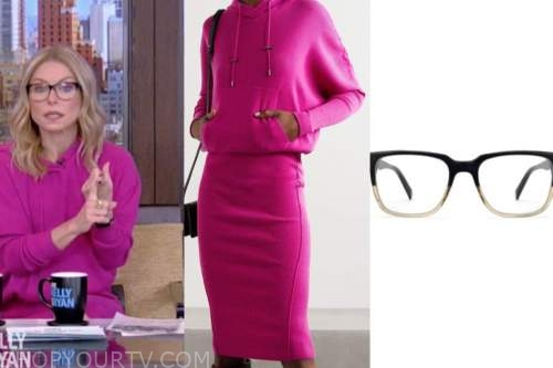 kelly ripa, live with kelly and ryan, pink hooded dress, glasses