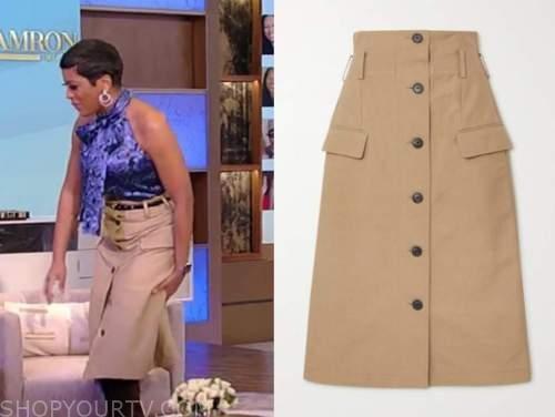 tamron hall, tamron hall show, beige button down skirt