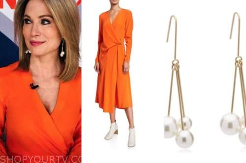 amy robach, good morning america, orange wrap dress, pearl drop earrings