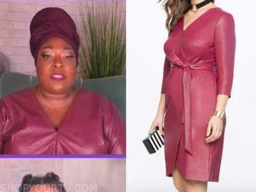 loni love, the real, burgundy red leather dress