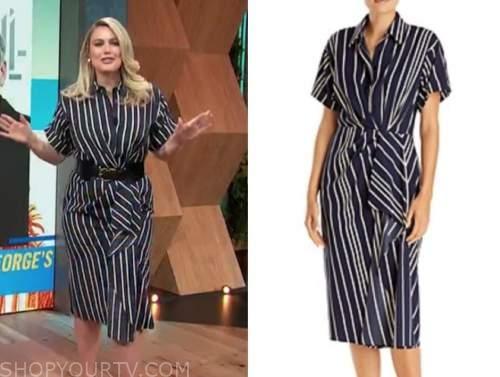 carissa culiner, E! news, daily pop, navy blue striped ruffle shirt dress