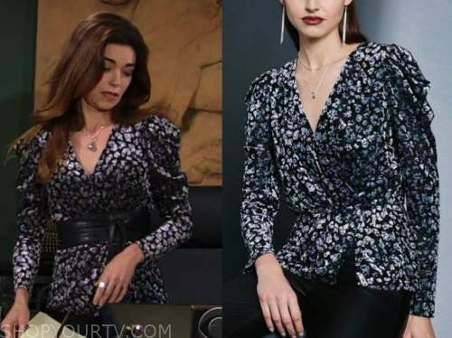 victoria newman, amelia heinle, the young and the restless, printed puff sleeve wrap top