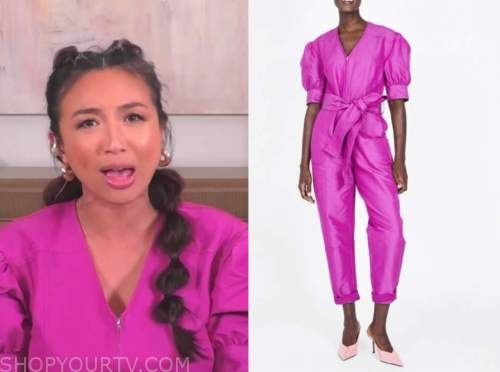 jeannie mai, the real, pink puff sleeve jumpsuit