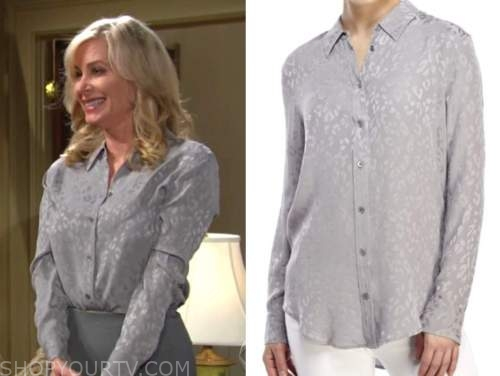ashley abbott ,eileen davidson, the young and the restless, grey leopard blouse