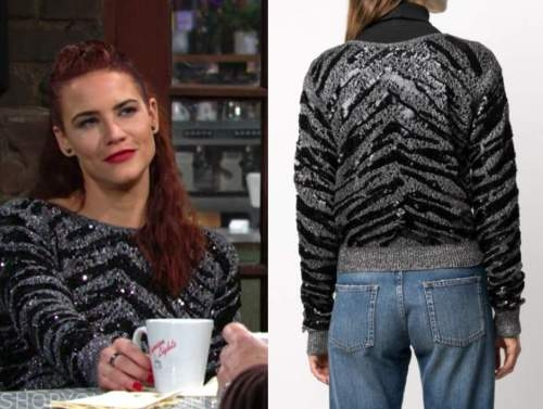 sally spectra, sequin zebra sweater, the young and the restless, courtney hope