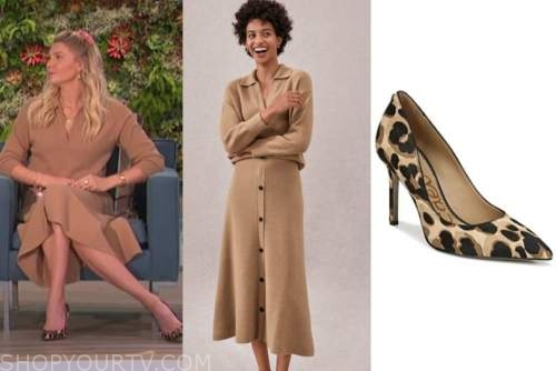 amanda kloots, the talk, camel sweater, knit skirt, leopard pumps