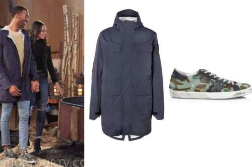 matt james, the bachelor, navy blue jacket, camo sneakers