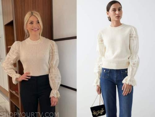 holly willoughby, this morning, ivory eyelet sweater