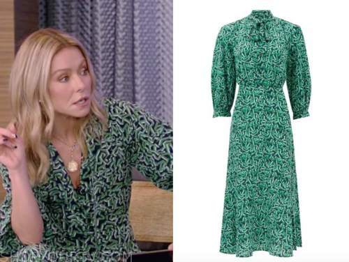kelly ripa, live with kelly and ryan, green tie neck dress