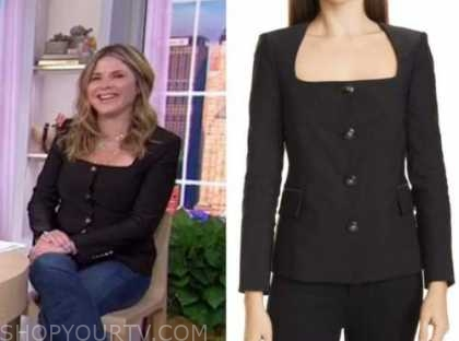 jenna bush hager, the today show, black square neck jacket top