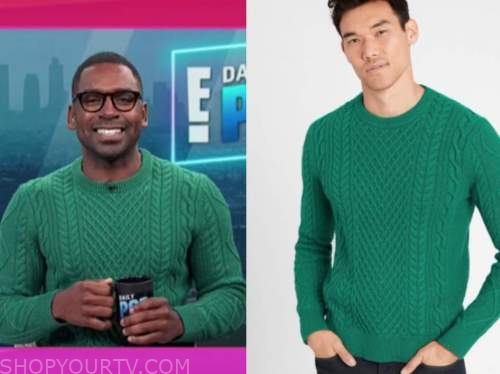 justin sylvester, E! news, daily pop, the today show, green cable knit sweater