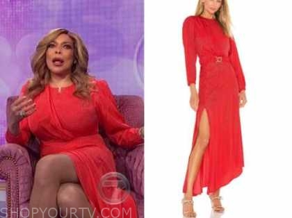 wendy williams, the wendy williams show, red jacquard drape dress