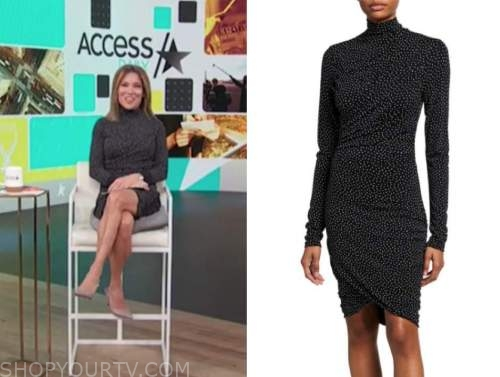 kit hoover, access daily, access hollywood, black dot turtleneck ruched dress