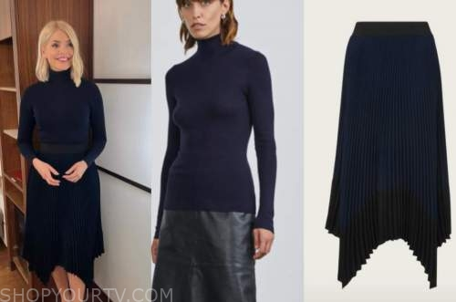 holly willoughby, this morning, navy jumper, navy blue pleated skirt
