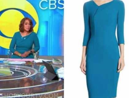 gayle king, cbs this morning, teal blue sheath dress
