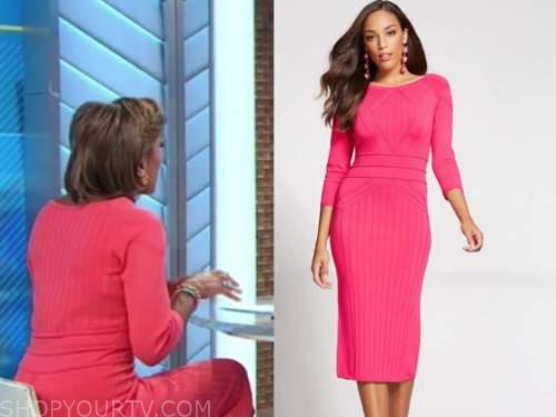 robin roberts, good morning america, pink ribbed knit dress