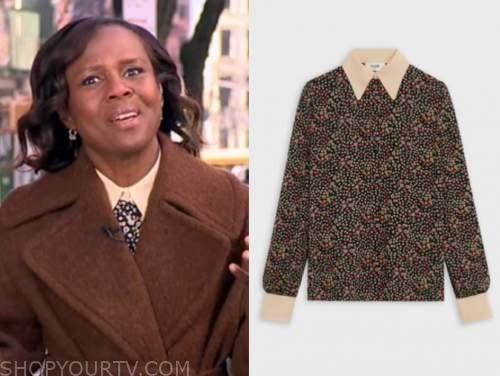 deborah roberts, good morning america, floral contrast collar blouse