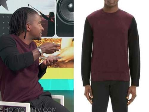 scott evans, access hollywood, access daily, burgundy and black colorblock sweater
