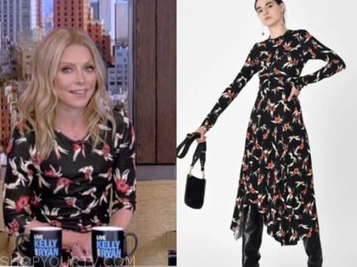 kelly ripa, live with kelly and ryan, black and red floral midi dress
