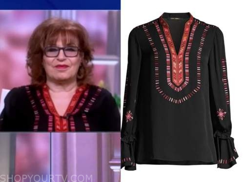 joy behar, the view, black and red embroidered blouse