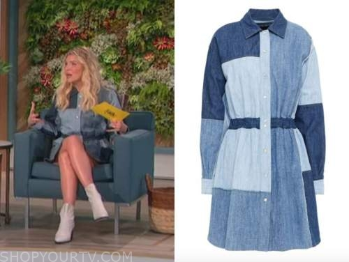 amanda kloots, denim patchwork shirt dress, the talk