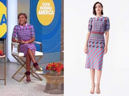 good morning america, robin roberts, geometric knit polo top and skirt, dress
