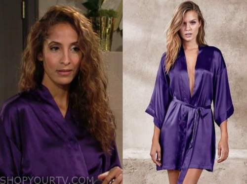 lily winters, christel khalil, the young and the restless, purple silk robe