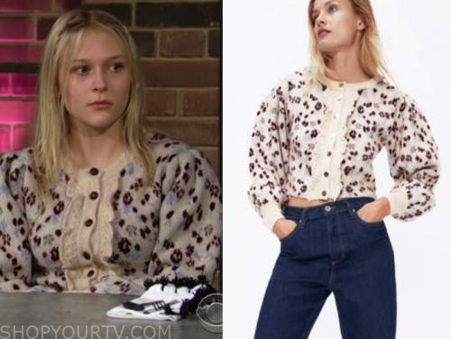 faith newman, alyvia alyn lind, the young and the restless, floral ruffle sweater