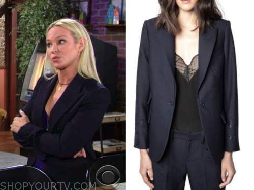 sharon newman, sharon case, the young and the restless, navy blue embellished blazer