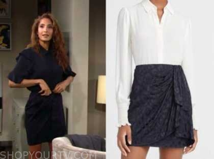 the young and the restless, lily winters, christel khalil, blue jacquard skirt