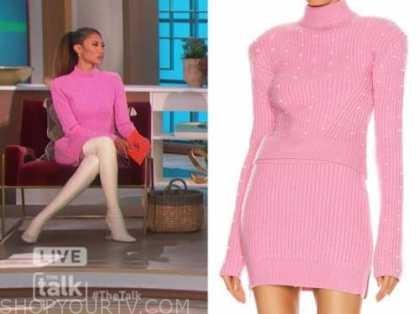 elaine welteroth, the talk, pink embellished turtleneck sweater and skirt, dress