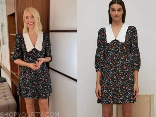 this morning, holly willoughby, floral contrast collar dress
