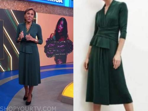 good morning america, robin roberts, green peplum dress