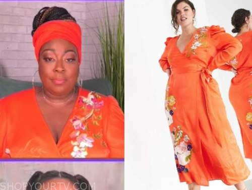 loni love, the real, orange wrap floral embroidered dress