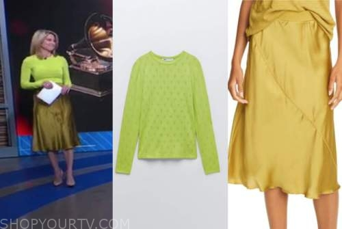 amy robach, good morning america, lime green heart sweater, gold satin skirt