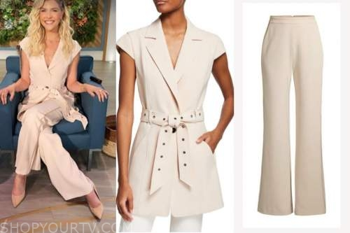 amanda kloots, the talk, beige belted jacket and pants
