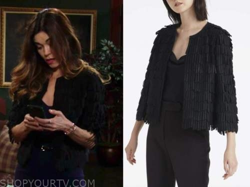 victoria newman, amelia heinle, the young and the restless, black fringe jacket