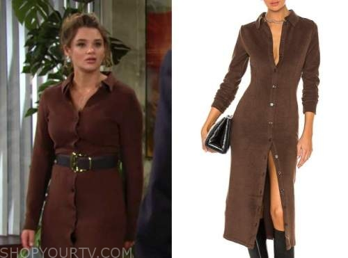 summer newman, hunter king, the young and the restless, brown ribbed knit midi dress