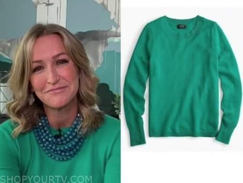 lara spencer, green sweater, good morning america
