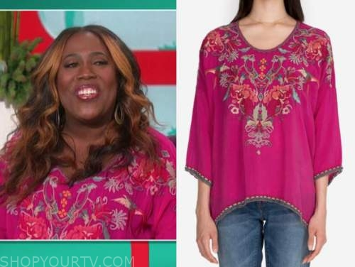 sheryl underwood, the talk, pink embroidered top