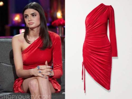 rachael kirkconnell, the bachelor, red velvet one-shoulder dress