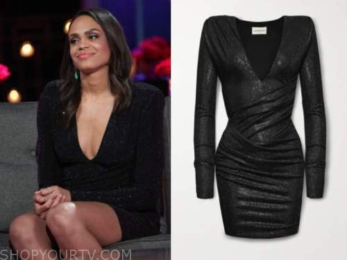 michelle young, black metallic long sleeve dress, the bachelor, after the final rose, bachelorette