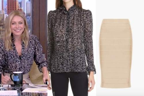 live with kelly and ryan, kelly ripa, black floral blouse, beige bandage skirt