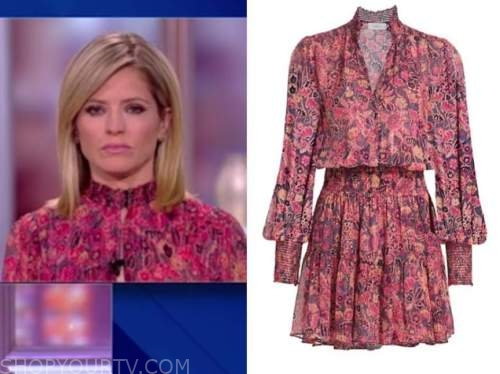the view, sara haines, pink floral metallic dress