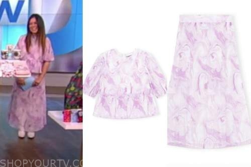 gretta monahan, the view, purple pleated printed top and skirt dress