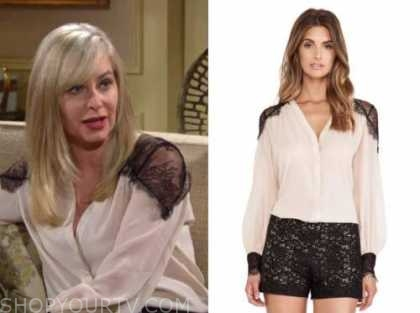 eileen davidson, ashley abbott, the young and the restless, ivory and black lace blouse,