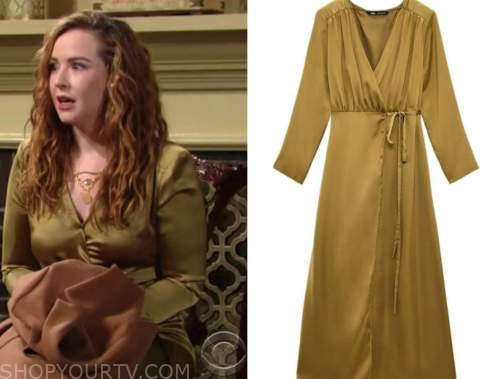 mariah copeland, camryn grimes, the young and the restless, satin wrap midi dress