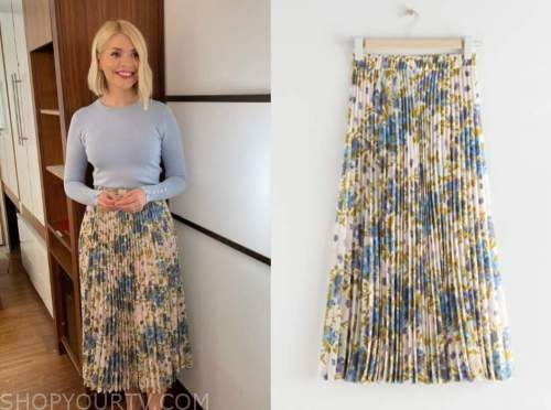 holly willoughby, this morning, floral pleated midi skirt