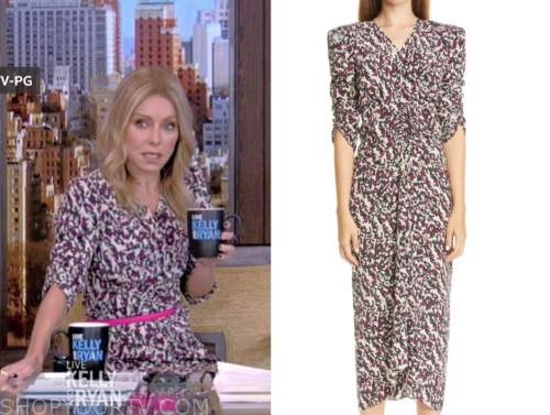 kelly ripa, live with kelly and ryan, abstract printed midi dress