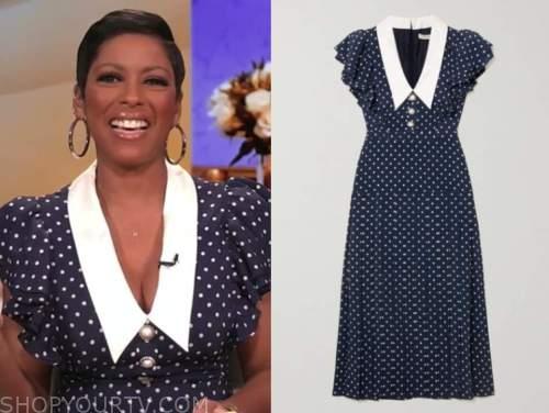 tamron hall, tamron hall show, navy blue and white polka dot collar midi dress